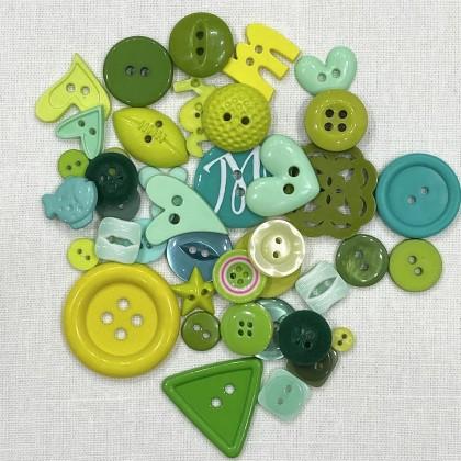 Green Mix Craft Button 40pcs