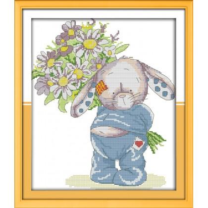 Rabbit present a bouquet 1