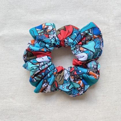 Fabric Scrunchie Funky Blue